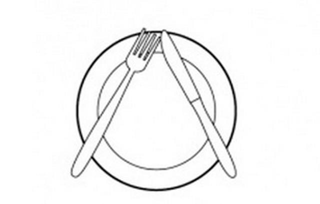 Mi a jelentése annak, ha így áll a tányéron a kés és a villa?