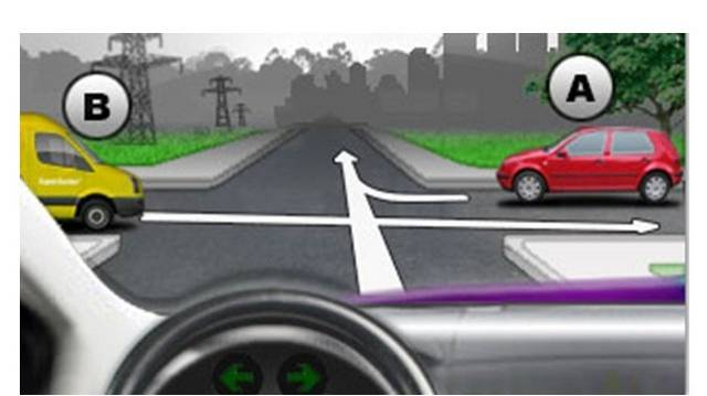 Mi a helyes áthaladási sorrend az ábrán látható útkereszteződésben?