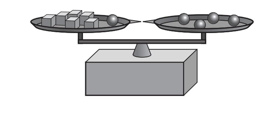 Juli azonos tömegű fakockákat és egyforma üveggolyókat rakott a mérlegre úgy, hogy a mérleg egyensúlyban legyen. A rajz alapján melyikből nehezebb egy darab?