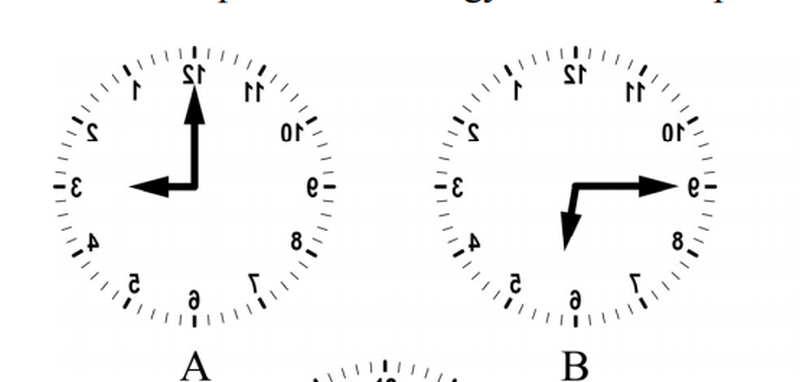 Az alábbi képeken órákat vagy azok tükörképeit látod. Az alábbiak közül melyik időt nem mutatja egyik óra sem?