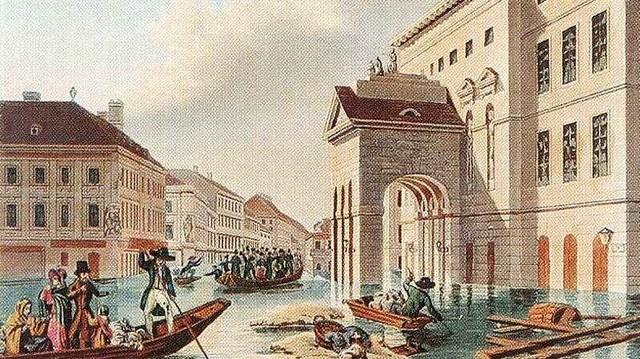 Kit neveztek így: az árvízi hajós? (Kép: Johann Hürlimann: Árvíz a pesti Színház-téren, 1838)