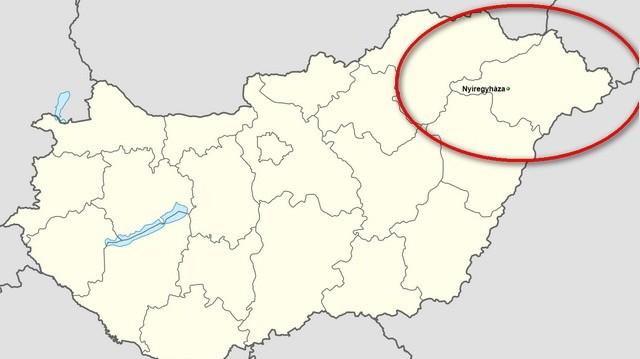 A képen látható bekarikázott terület, melyik megye, melynek megyeszékhelye Nyíregyháza?