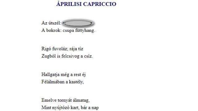 Milyen az útszél Tóth Árpád Áprilisi capriccio című versében?