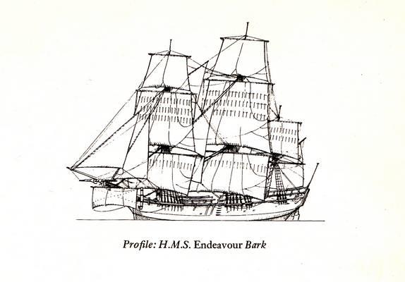 Ez James Cook hajója az Endeavour. Szénszállítóból lett átalakítva.