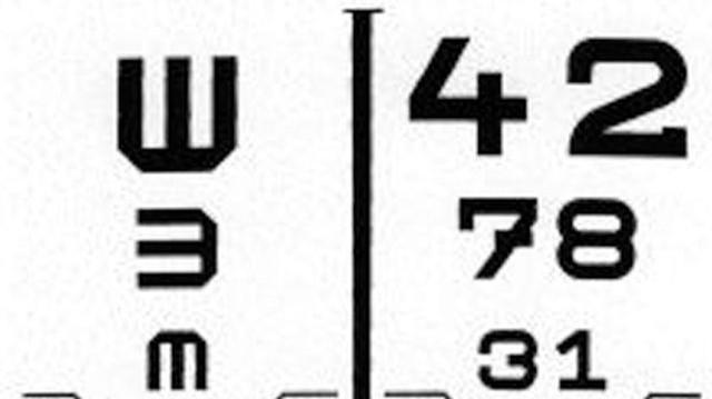 Melyik szám szerepel a látásvizsgáló Schnellen-tábla tetején?