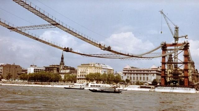 Melyik budapesti híd építési munkálatait mutatja ez az 1963-ban készült fénykép? (Fotó: Fortepan/Bujdosó Géza)